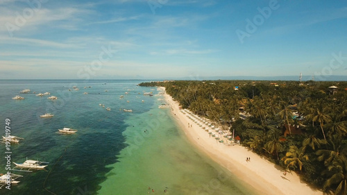Foto op Canvas Tropical strand Aerial view of tropica Alona beach on the island Bohol, resort, hotels, Philippines. Beautiful tropical island with sand beach, palm trees. Tropical landscape. Seascape: Ocean, sky, sea. Travel