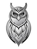 Owl tattoo shape on white