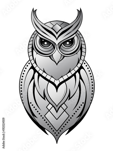 Fotobehang Uilen cartoon Owl tattoo shape on white