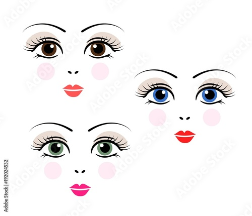 Doll, girl, woman cute face template vector - 192024532