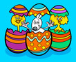 Easter bunny and chickens cartoon illustration - 192028585