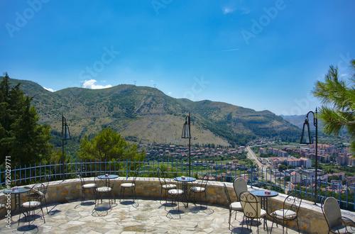 Foto op Aluminium Blauw Town in the valley - Trebinje