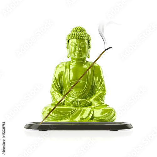 Foto op Aluminium Boeddha Buddha with a incense stick