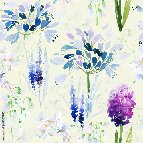 Sticker Spring flowers seamless pattern