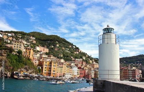 Fotobehang Vuurtoren Camogli lighthouse, Liguria, Italy