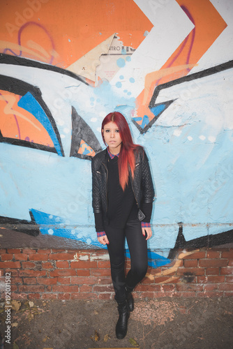 Foto op Plexiglas Graffiti young beautiful red hair venezuelan woman lifestyle