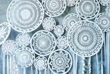Beautiful delicate white lace with knitting ornament  - 192032958