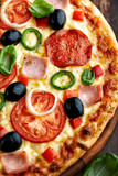 Pizza with Salami and Ham - 192034955
