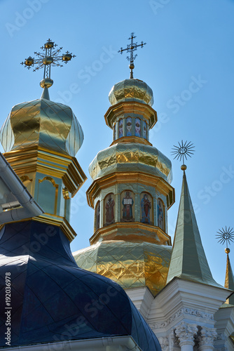 Fotobehang Kiev Domes of the church and bell tower in the Kiev Pechersk Lavra of the Orthodox Church, located in Kiev, Ukraine