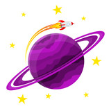 Planet icon with a rocket. Vector illustration