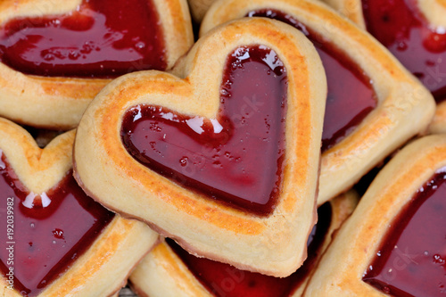 Background of many heart cookies