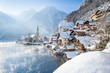 Classic view of Hallstatt in winter, Salzkammergut, Austria - 192040196