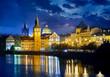 Evening over river Vltava near Charles bridge in Prague, Czech
