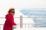 Tourist woman on liner seascape background - 192042165