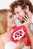 Loving couple with candy bunch flowers. Love. - 192042518