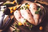 Raw chicken breast on wooden background - 192044753