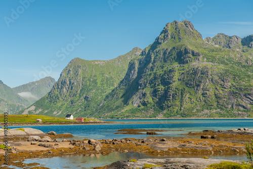 Fotobehang Blauw Coast landscape on Lofoten islands in northern Norway. Lofoten is a popular tourist destination