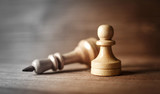 King and pawn of chess setup on wooden background . Leader and teamwork concept for success. Chess concept of pawn defeating king