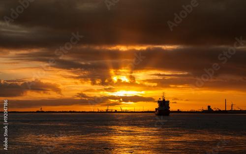 Foto op Canvas Zee zonsondergang Sonnenuntergang an der Weser