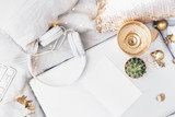 Flat lay composition with gold candle, laptop, headphones and white blank. Freelance composition - 192048751