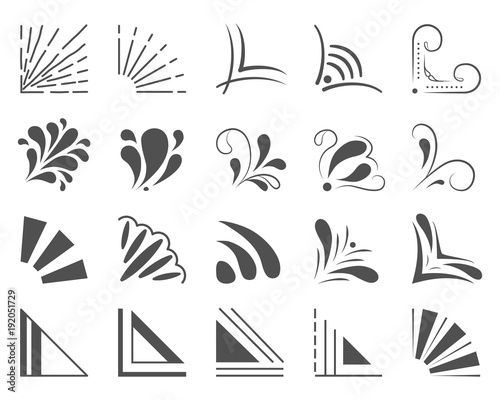 Set of 20 hand drawn corners and design elements. Hand drawn corner set. Vector frames