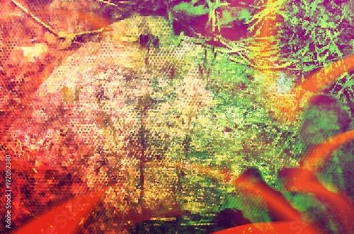 Pixelated Orange Light Beam Abstract