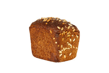 Loaf of bread with seeds isolated on a white background