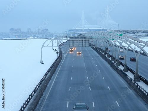 Deurstickers Nacht snelweg speed road in the winter evening