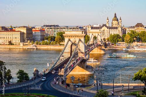 Fotobehang Boedapest Szechenyi Chain Bridge on Danube river.