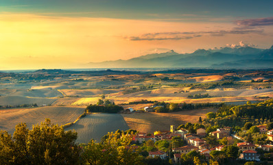 Pomaia, tuscany countryside panorama, rolling hills and fields on sunset. Pisa, Italy