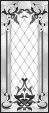 Stained-glass panel in a rectangular frame, abstract floral arrangement of buds and leaves in the art Nouveau style. Decorative design of the window or door. Vector illustration - 192059149