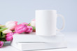 white mug mockup with pink tulips for spring