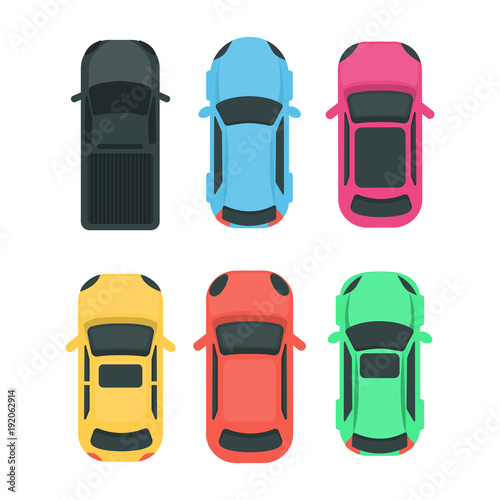 Cars top view.