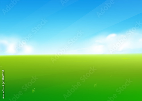 Aluminium Boerderij Spring field nature background with green grass landscape, clouds, sky