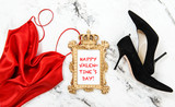 Happy Valentines Day Fashion flat lay Red dress - 192070505