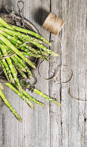 Asparagus rustic wooden background Vintage style
