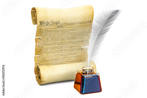 Constitution of the United States concept, 3D rendering