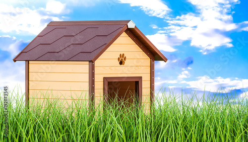 Wooden doghouse in green grass against blue sky, 3d rendering