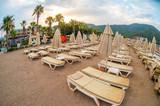 Sun loungers on a beach in Turkey - 192074366