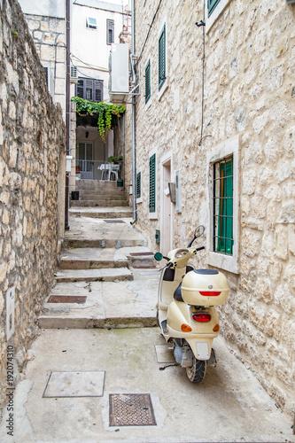 Fotobehang Smalle straatjes old charming street in Croatia