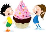 Fat children with big cake cartoon illustration isolated on white background - flat design - 192074945