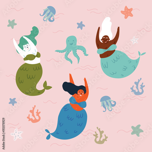 Cotton fabric Three mythical creatures under the sea are having fun. Mermaids and octopus in the water. Sea or ocean environment. Fishwoman are swimming together. Underwater fantasy world. Vector illustration