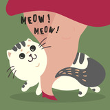 Happy fluffy fat cat illustration. Home pet rub on legs of his female master owner. Meow meow sign-out text. Flat cartoon style image. - 192079122