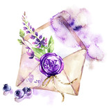 Watercolor illustration. Ancient envelope with wax seal, flowers and berries. Antique objects. Spring collection in violet shades. ClipArt, DIY, scrapbooking elements. - 192079595