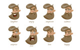 Hipster charcter expressions set. Laughter, angry, suspicion, sadness, surprise, fear, love, happy. Vector illustration. - 192080337