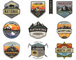 Set of vintage hand drawn travel badges. Camping labels concepts. Mountain expedition logo designs. Travel badges. camp logotypes collection. Stock vector patches isolated on white background