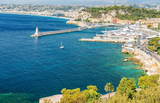 Nice city french riviera France blue mediterranean sea palm trees - 192085107