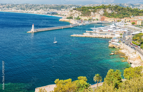 Fotobehang Nice Nice city french riviera France blue mediterranean sea palm trees