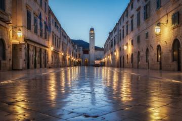 Old town of Dubrovnik with famous Stradun in twilight, Dalmatia, Croatia