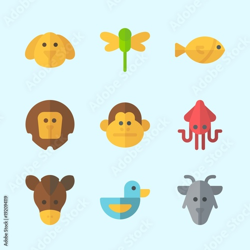 Icons about Animals with duck, squid, dragonfly, monkey, horse and lion